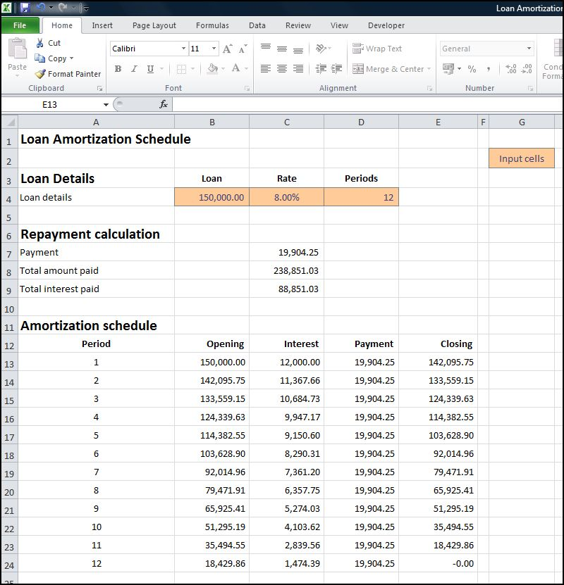 loan amortization schedule calculator