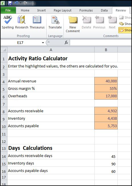 activity ratios calculator