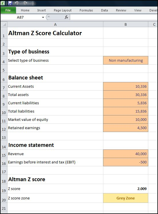 altman z score calculator v 1.0