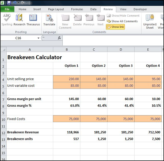 break even calculator v 1.0