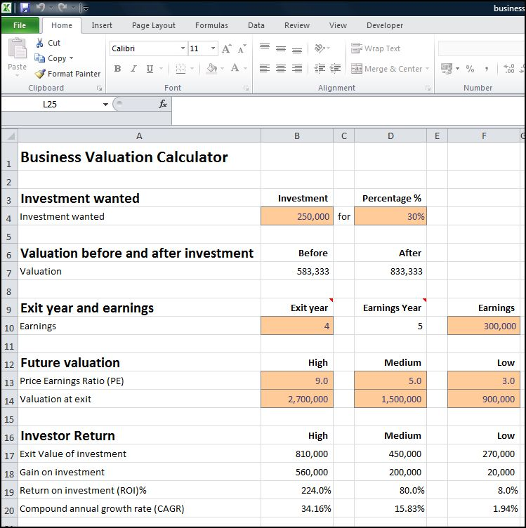 business valuation calculator v 1.0