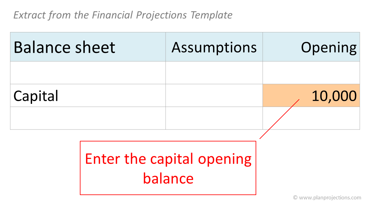 capital opening balance - extract from the financial projections template