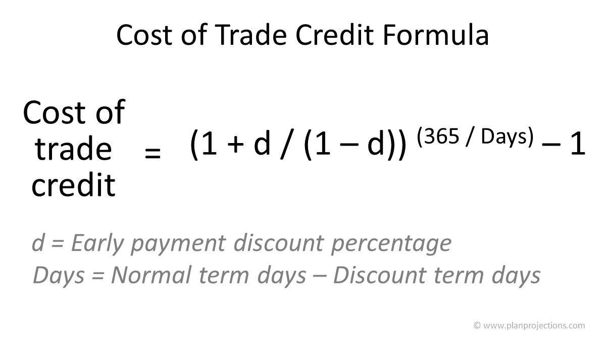 cost of trade credit formula