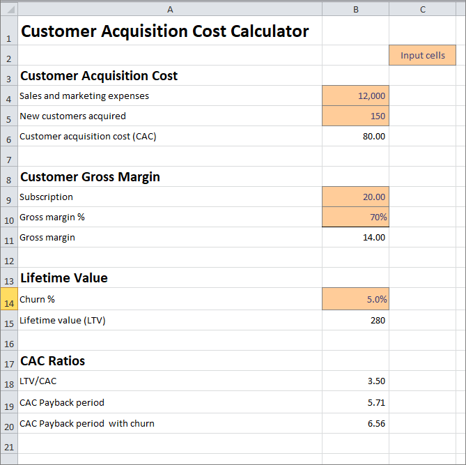customer acquisition cost calculator v 1.01