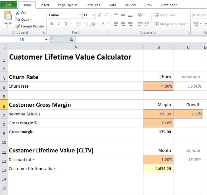 customer lifetime value calculator v 1.0