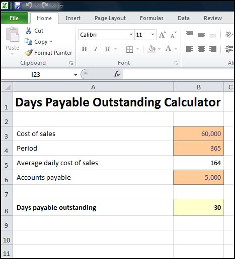 days payable outstanding calculator v 1.0
