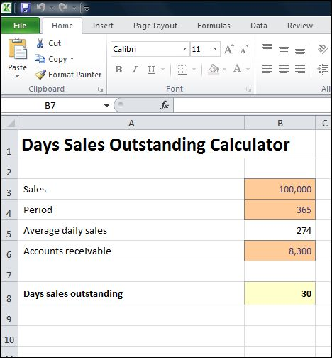 days sales outstanding calculator plan projections