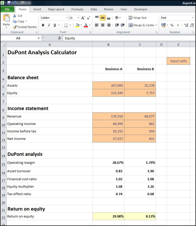 dupont analysis calculator v 1.0