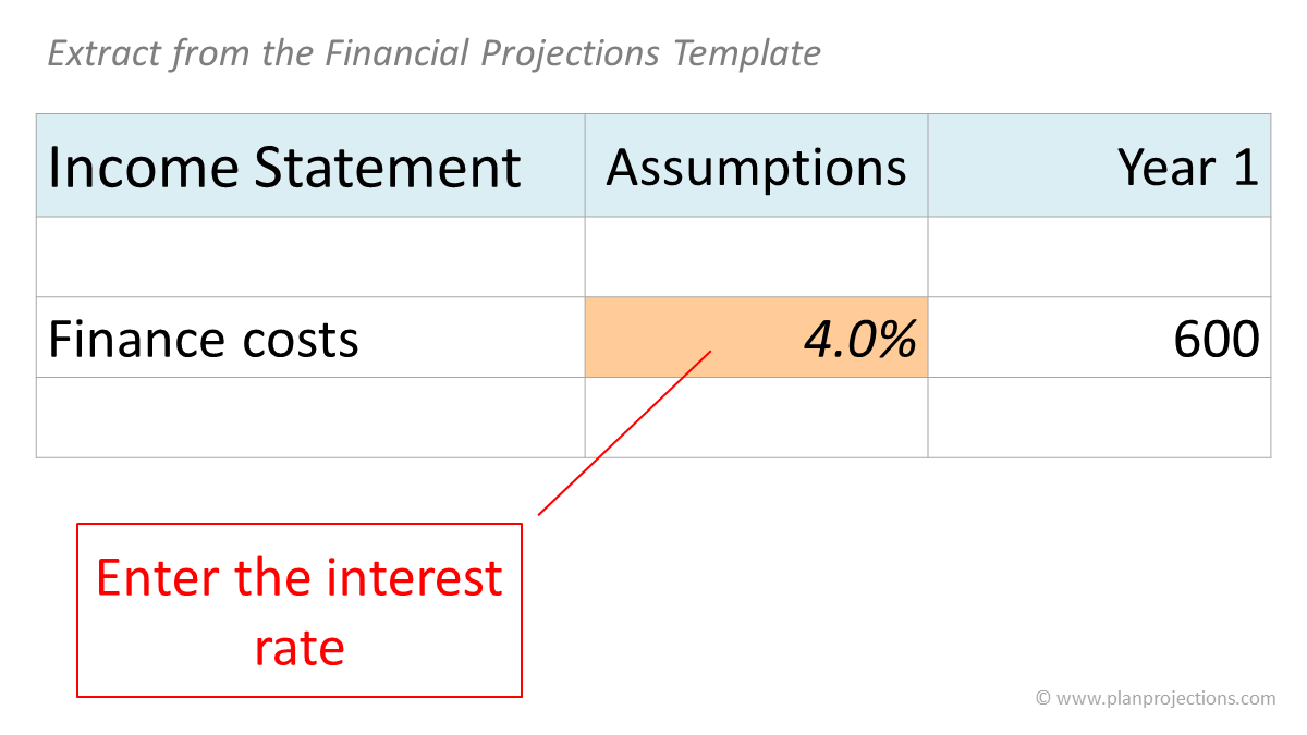 enter the interest rate - extract from the financial projections