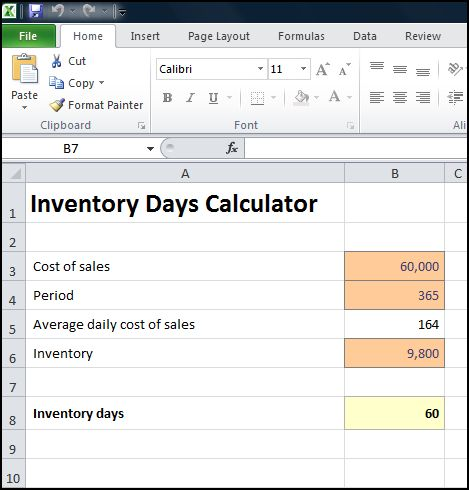 inventory days calculator v 1.0