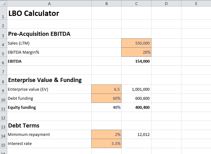leveraged buyout model calculator v 1.1