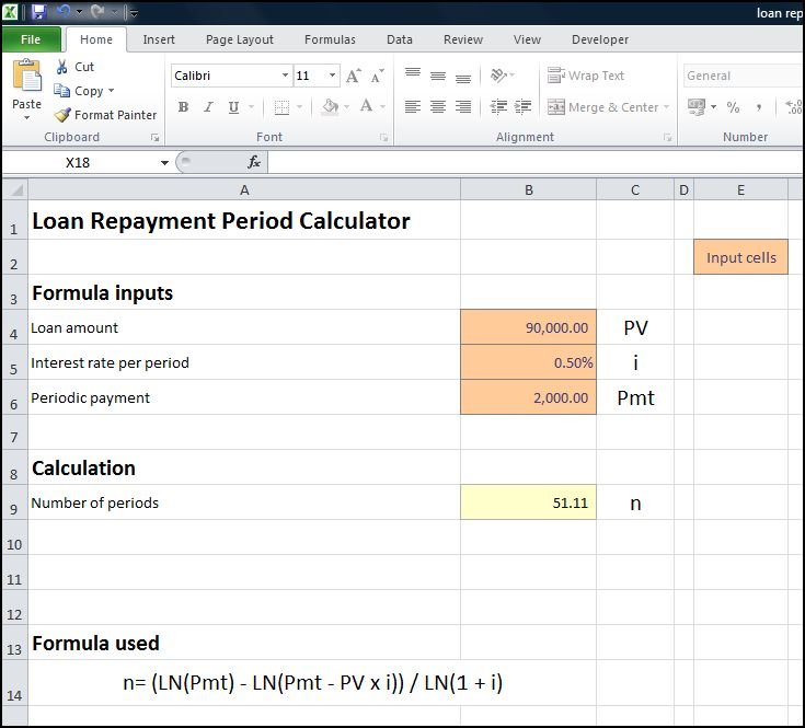 loan repayment period calculator v 1.1