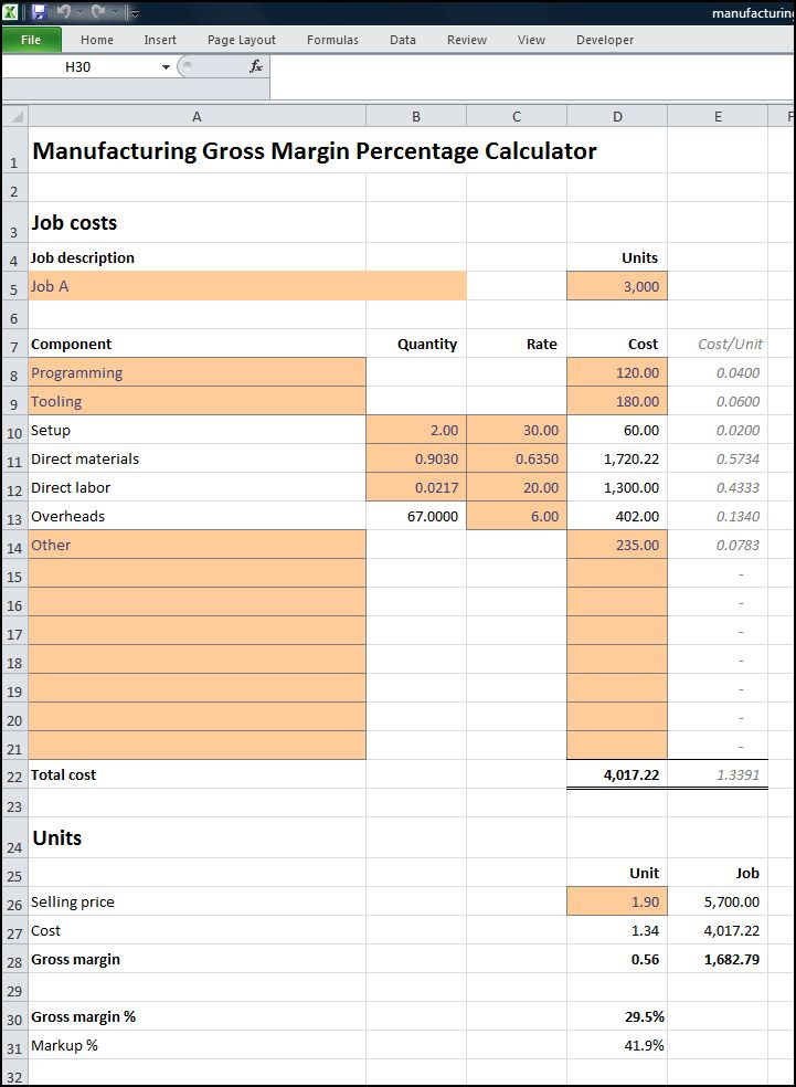 manufacturing gross margin percentage calculator v 1.1