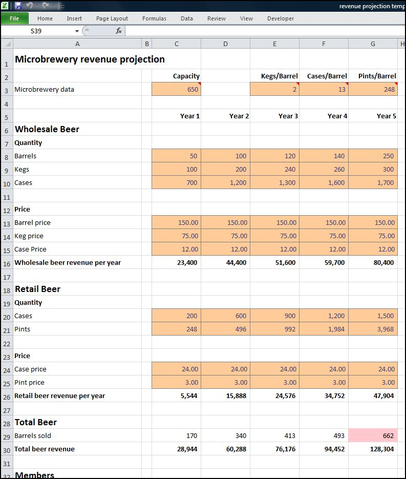 microbrewery revenue projection v 1.1