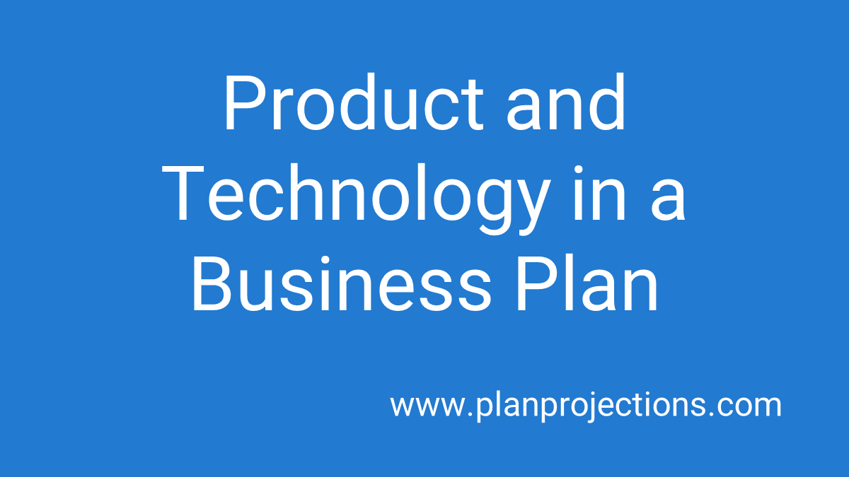 product and technology in a business plan