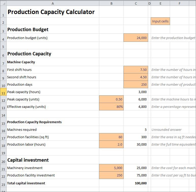 production capacity calculator v 1.01