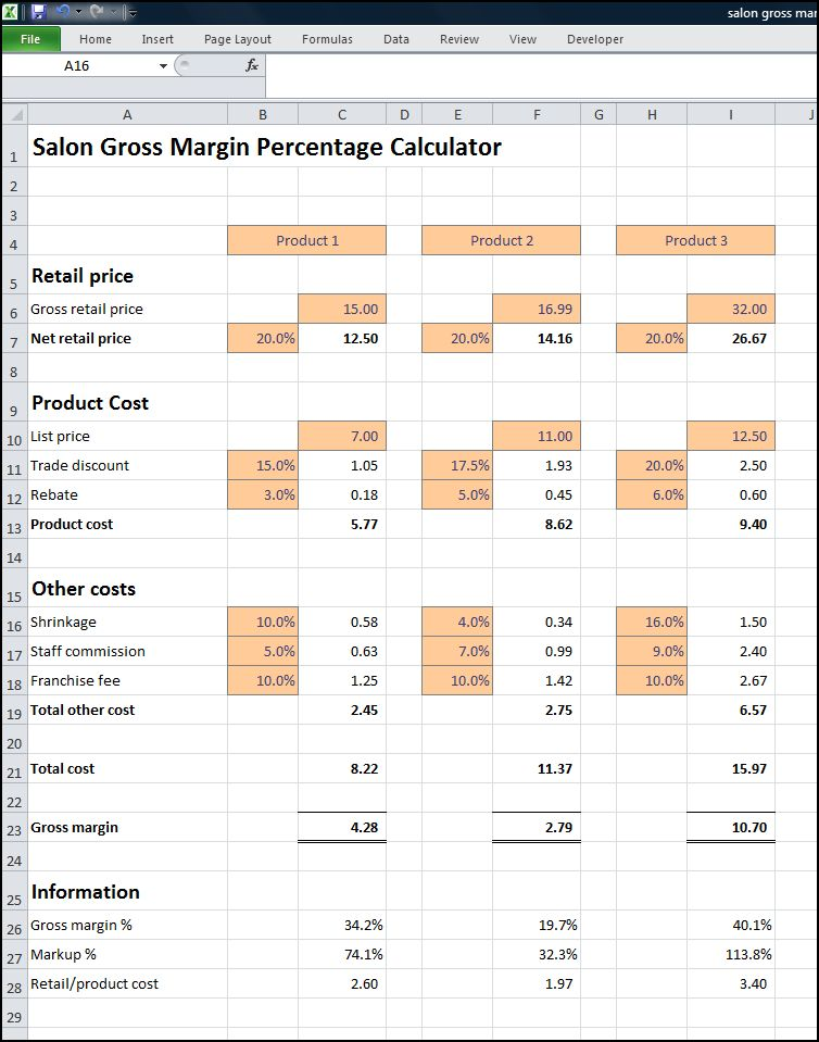 salon gross margin percentage calculator