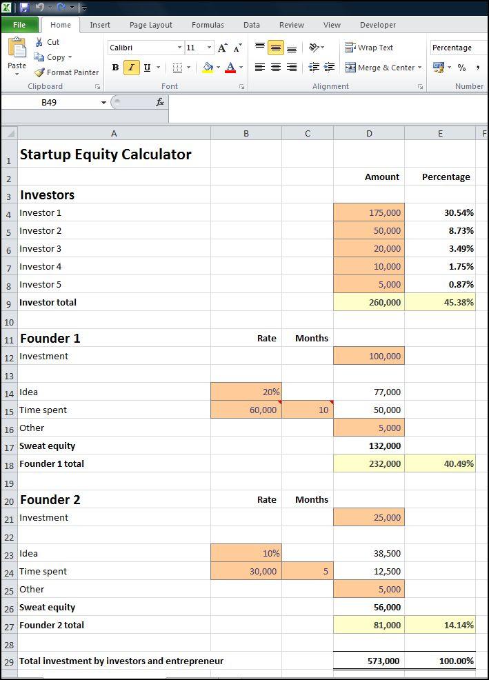 startup equity calculator v 1.0