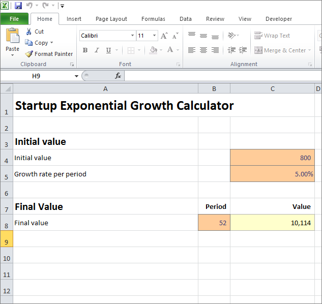 startup exponential growth calculator v 1.0