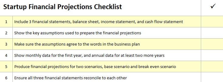 startup financial projections checklist v 1.0