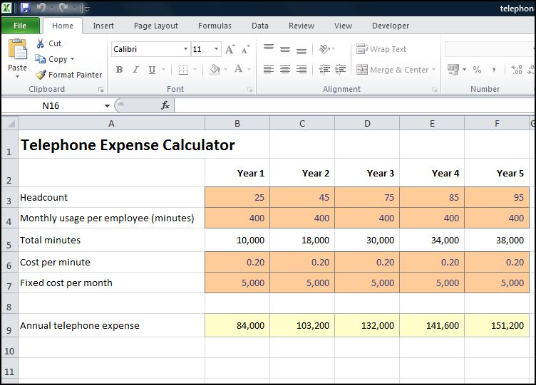 telephone expense calculator v 1.0