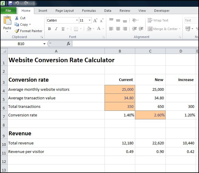 website conversion rate calculator v 1.0